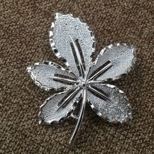 Vintage silver leaf brooch by Sarah Coventry